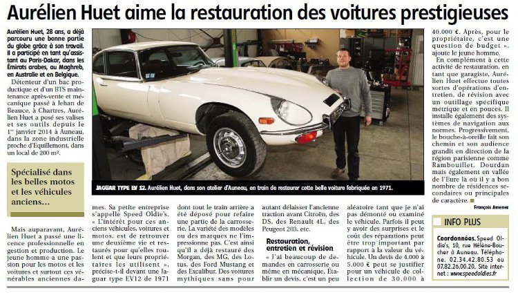 Auneau Echo Republicain 9 mars 2016 artisan mécanique voiture collection anglaise 28 garage speed odlie's