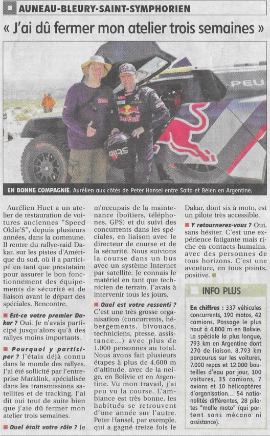 Auneau Perou Bolivie Argentine Dakar 2018 Rallye Rallye-raid Regularité Course Navigation GPS Sentinel Iritrack tracking roadbook Echo Republicain artisan mécanique voiture collection compétition garage speed odlie's